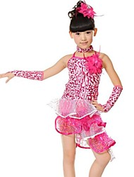 Latin Dance Children's Polyester Sequins Performance Outfit(Blue/Fuchsia/Red) Kids Dance Costumes