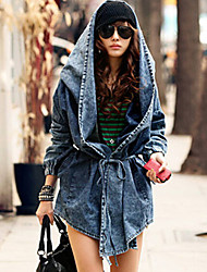 Women's Blue Denim/Polyester/Cotton Blends Coat , Casual Long Sleeve