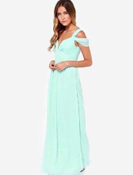 Women's Solid Blue/Red/Green Dress , Party/Maxi Deep V Sleeveless
