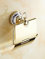 Toilet Paper Holder Ti-PVD Wall Mounted 175*150mm(6.88*5.9inch) Brass / Ceramic / Crystal Neoclassical
