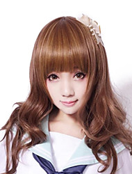 Zipper Cute Girl Brown Curly Long Classic Lolita Wig