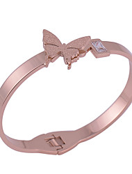 Fashion Women's Rose Gold Plated Stainless Steel Butterfly Bangles/Cuff Bracelets 1pc