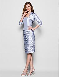 Lanting Bride® Sheath / Column Plus Size / Petite Mother of the Bride Dress Knee-length 3/4 Length Sleeve Taffeta with Beading / Ruching