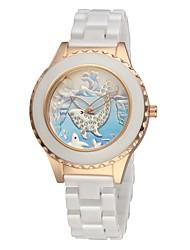 Women's Ceramic Watch Dolphin Free Second Hand Vintage Bracelet Quartz Analog Wrist Watches Sparkle Rose Gold Cool Watches Unique Watches