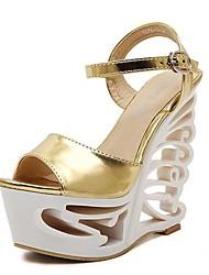 Sandalias ( Plateado/Dorado Zapatos con plataforma/Punta abierta/Plataforma - Tacón Cuña - Piel - para MUJERES