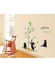 decalques de parede adesivos de parede, estilo gato preto com parede de pvc árvore adesivos