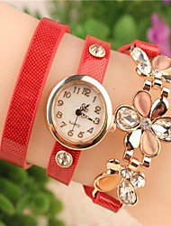 Women's 2015 The Latest Fashion  Chained Crystal Flower   Leather  Quartz Watch Hot Sale(Assorted Colors) Cool Watches Unique Watches