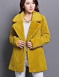 Women's Blue/White/Black/Yellow Coat , Party/Work Long Sleeve Wool