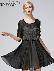 YIPINWAN ® Women's Frill Embroidery Beaded Chiffon Dress