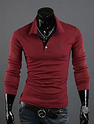 T-Shirts ( Coton mélangé ) Informel/Travail Col chemise à Manches longues