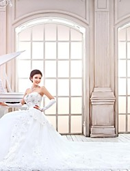 A-line,Princess Cathedral Train Wedding Dress -Strapless Tulle