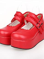 rojo pu 7 cm de cuero clásico plataforma&zapatos tradicionales lolita