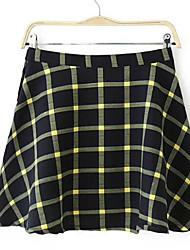 Women's Europe High Waist Grid Splicing Skirt
