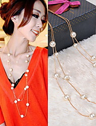 Necklace Strands Necklaces / Pearl Necklace Jewelry Party / Daily / Casual Fashion Pearl / Imitation Pearl White 1pc Gift