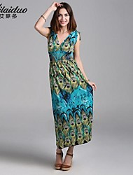Women's Vintage/Sexy/Beach/Print/Cute/Maxi/Plus Sizes Micro-elastic Sleeveless Maxi Dress