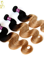 """3 Pcs Lot 14""""-28"""" Ombre Indian Body Wave Virgin Remy Human Hair Extensions/Weaves 2 Two Tone Black Honey Blonde 1B/27#"""
