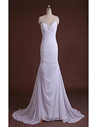 Sheath / Column Wedding Dress Simply Sublime Court Train V-neck Chiffon Satin with Beading Ruche