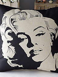 Modern Style Marilyn Monroe Head Patterned Cotton/Linen Decorative Pillow Cover