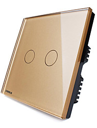 Livolo UK Standard Touch Switch,Luxury Golden Glass Panel,110-250VAC,Touch Curtain Switch with LED indicator