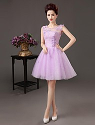 Cocktail Party Dress - Lavender Plus Sizes A-line Bateau Knee-length Satin