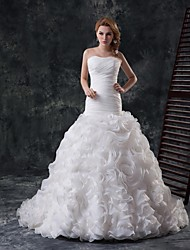 Fit & Flare Cathedral Train Wedding Dress -Strapless Organza