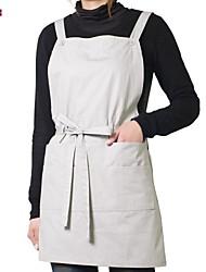 delantal estilo japonés (algodón 67 * 116) con bolsillos - para restaurantes y hogar