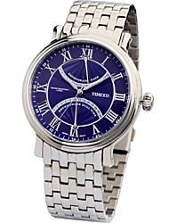 Time100 Men's FashionBritish Classical Roman Numerals Stainless Steel Strap 50m Waterproof Quartz Watch(Assorted Colors)