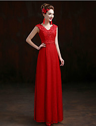 Formal Evening Dress - Elegant Sheath / Column V-neck Floor-length Lace with Appliques Sequins