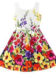 Robe Fille de Fleur Coton Organique Eté Printemps Sans Manches