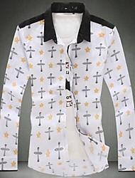 Men's Long Sleeve Shirt , Cotton Casual/Plus Sizes Print