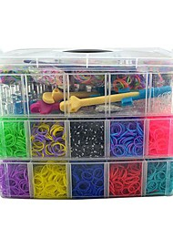 15000pcs Silicone Bands,240S-clips,2 Loom,1 Metail 2 Plastic Hook High Quality Bands Box 3 Layer