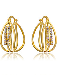 Women's 18K Gold Plating Individuality Inlay Zircon Earrings