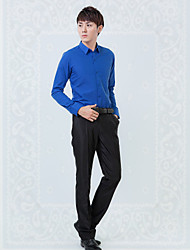 Shirts Classic (Semi-Spread) Long Sleeve Cotton/Polyester Solid Sapphire