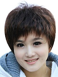 Foreign Trade Old Wig Sell Like Hot Cakes Dark Brown Short Hair Wigs