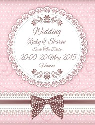 Personalized 50pcs/Lot 15cm x 12.5cm  Wedding Invitations Tie Pattern Save The Date Paper Card