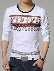 ronde kraag lange mouw natie afdruk t-shirts voor mannen (meer kleuren)