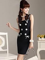 Women's Round Collar Elegant Working Button Sleeveless Dress