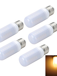 Marsing 5pcs E27 8W 800LM 6500K/3000K  Frosted Cross Board 48-5730 SMD Warm/Cool White Light LED Corn Bulb (AC 220~240V)