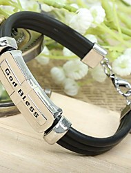 Tina -- European and American Titanium Steel God Bless Leather Bracelet in Party