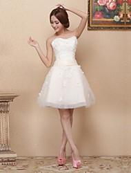 Dress - Ivory A-line Sweetheart Short/Mini Satin / Tulle
