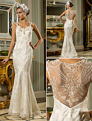 Lan Ting Trumpet/Mermaid Plus Sizes Wedding Dress - Ivory Floor-length Queen Anne Lace/Stretch Satin