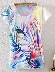 Aishanv Women's Europe  the new women's  printed watercolor zebra design round collar T-shirt with short sleeves 5