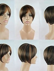 High Quality Fashion  Party Wig Mix Color Short  Straight  Woman's Synthetic Wigs Hair
