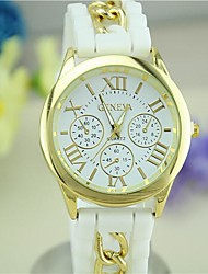 Women's European Style Fashion Newest Silicone Roman Numerals Geneva Silicone Wrist Watch