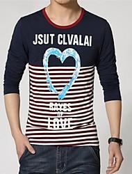 ronde kraag lange mouw streep afdrukken t-shirts voor mannen (meer kleuren)