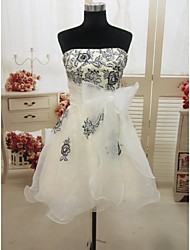 Formal Evening/Wedding Party Dress A-line Strapless Short/Mini Organza Dress