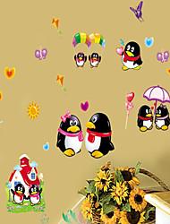 decalques de parede adesivos de parede, QQ pinguins estilo parede pvc etiquetas