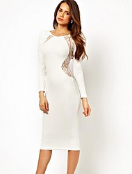 Heika  Women's European Lace Sexy Slim Backless Long Sleeve Long Dress