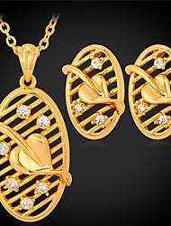 u7® aretes techo oval de la hoja collar de lujo plateado oro verdadero 18k de la joyería de diamantes de imitación para las mujeres de alta calidad