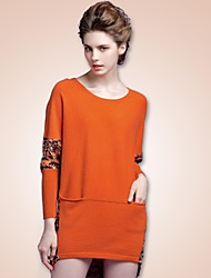Freeshare Pure Cashmere Women Sweater of New Fashion Design Orange Long Printed Dress of 100% Cashmere
